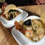 Scallops, Shrimp and Mussels on Saffron Mashed Potatoes from the Blog